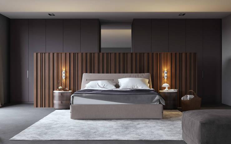 minimalistische Slaapkamer door Aleksandra  Kostyuchkova