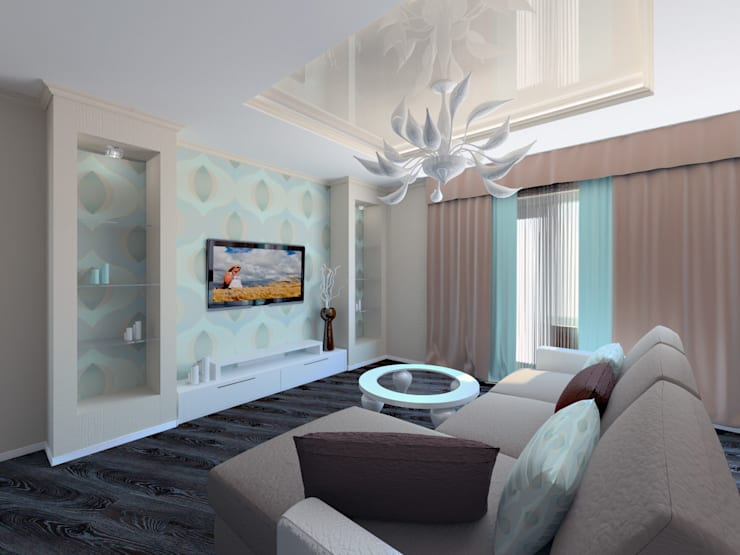 3-х комнатная квартира г.Краснодар: Гостиная в . Автор – K&D