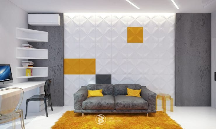 Квартира в Броварах: Гостиная в . Автор – 27Unit design buro, Модерн