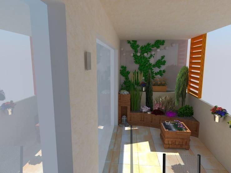 wizualizacja loggia: styl , w kategorii Taras zaprojektowany przez ARCHITEKTONIA Studio Architektury Krajobrazu Agnieszka Szamocka -Niemas