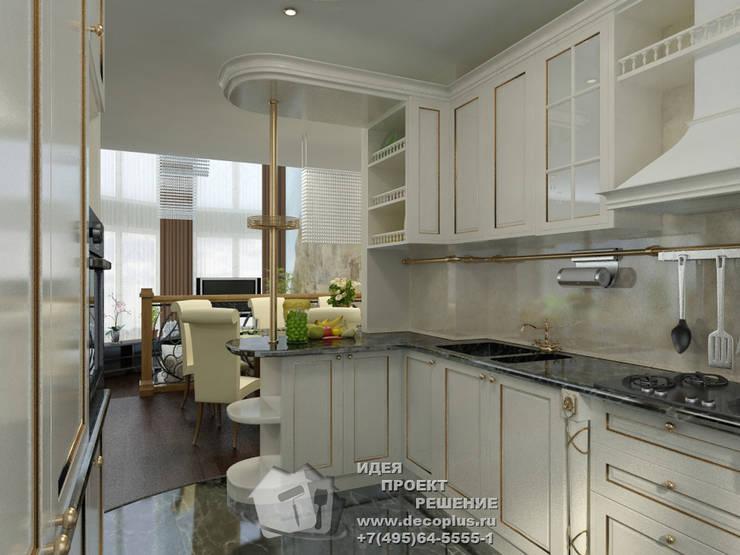 Фото интерьера белой кухни с видом на столовую: Кухни в . Автор – Бюро домашних интерьеров