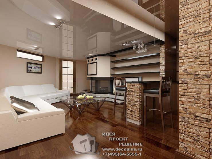 Белый диван и бар в загородном доме: Гостиная в . Автор – Бюро домашних интерьеров