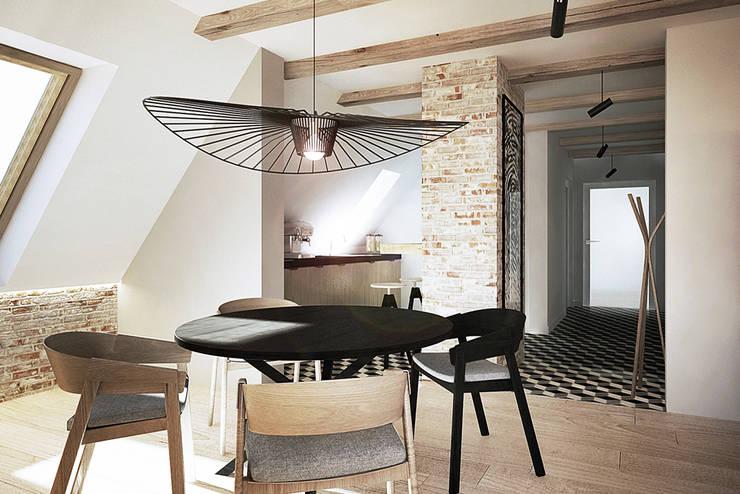 Wrocław / Gaj, poddasze dwupoziomowe – 112m2: styl , w kategorii Jadalnia zaprojektowany przez razoo-architekci,Skandynawski