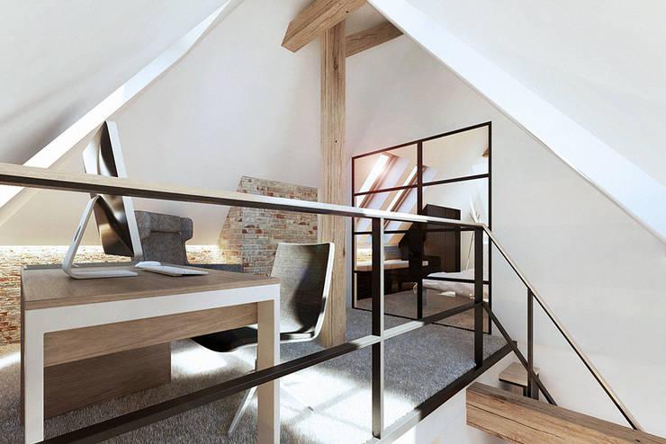 Wrocław / Gaj, poddasze dwupoziomowe – 112m2: styl , w kategorii Domowe biuro i gabinet zaprojektowany przez razoo-architekci,Skandynawski