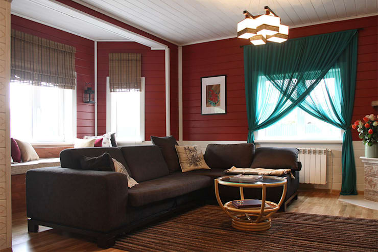 Новый дизайн гостиной:  в . Автор – Дизайн-студия HOLZLAB