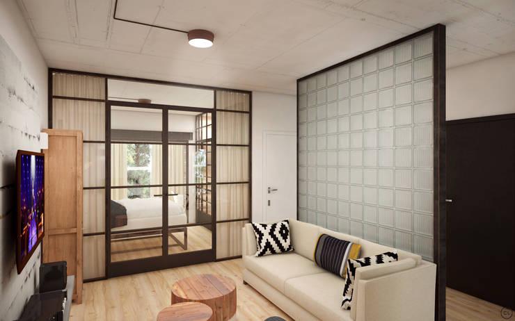Средиземноморский лофт для молодой семьи: Гостиная в . Автор – Circle Line Interiors