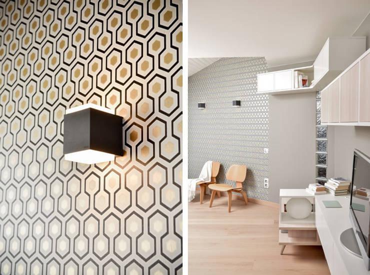 Aménagement et décoration d'une maison à Genève: Salon de style de style Moderne par Marion Lanoë Architecte d'Intérieur