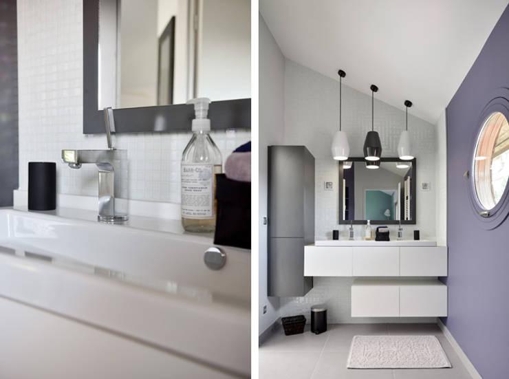 Aménagement et décoration d'une maison à Genève: Salle de bains de style  par Marion Lanoë Architecte d'Intérieur