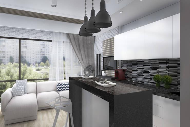 Гостиная, совмещенная с кухней: Кухни в . Автор – Дизайн-студия HOLZLAB,