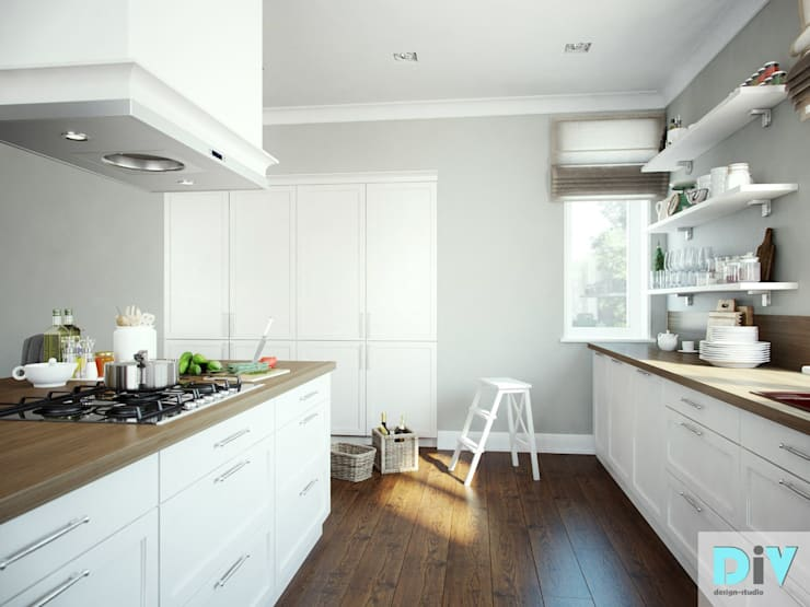 Дизайн интерьера коттеджа в неоклассическом стиле: Кухни в . Автор – дизайн интерьера DiV