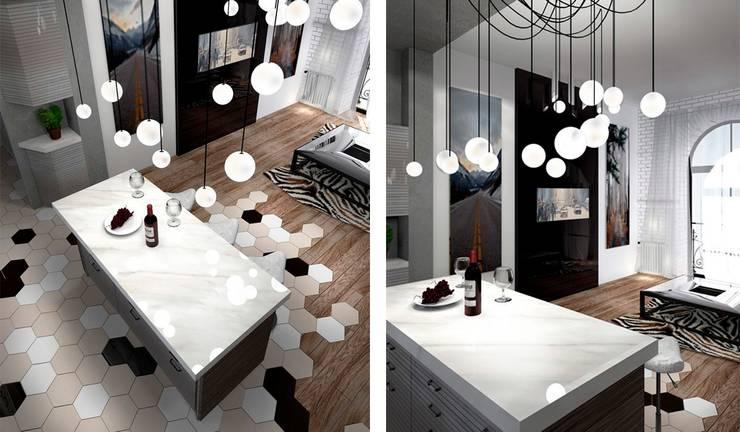 Гостиная, совмещенная с кухней: Гостиная в . Автор – Дизайн-студия HOLZLAB,