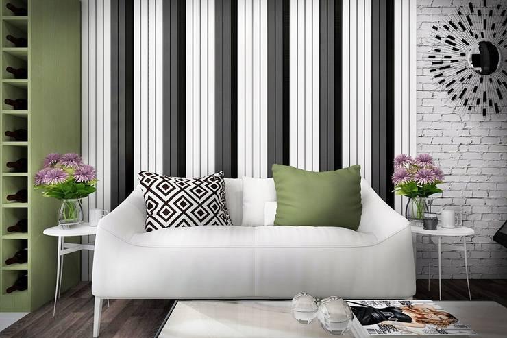 1 этаж: гостиная, совмещенная с кухней-столовой: Гостиная в . Автор – Дизайн-студия HOLZLAB, Минимализм