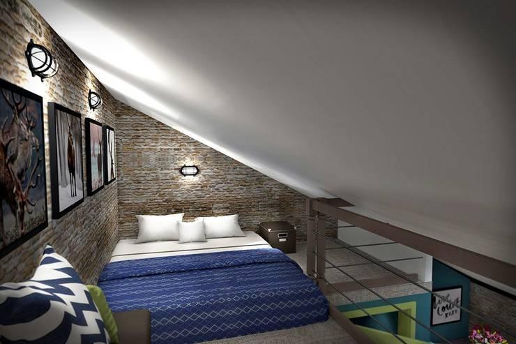 3 этаж: рабочий кабинет, мастерская, антресольный этаж с комнатой отдыха: Спальни в . Автор – Дизайн-студия HOLZLAB, Лофт