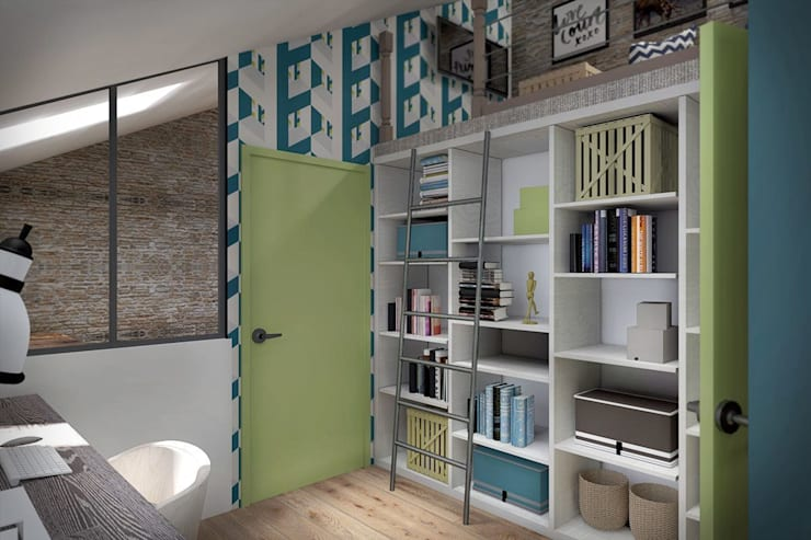 3 этаж: рабочий кабинет, мастерская, антресольный этаж с комнатой отдыха: Рабочие кабинеты в . Автор – Дизайн-студия HOLZLAB, Лофт