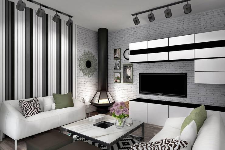 1 этаж: гостиная, совмещенная с кухней-столовой: Гостиная в . Автор – Дизайн-студия HOLZLAB