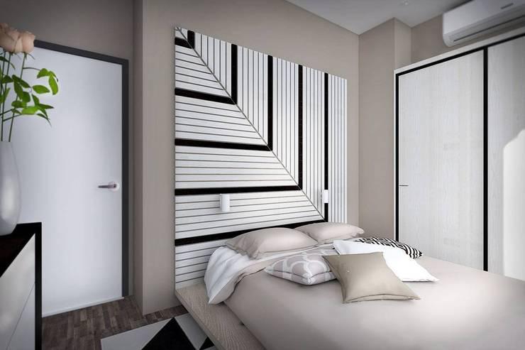 2 этаж: 2 спальни, ванная комната и гардеробная: Спальни в . Автор – Дизайн-студия HOLZLAB, Минимализм