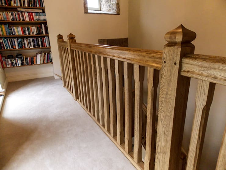 Bespoke Oak Gothic Style stairs Country style corridor, hallway& stairs by Buscott Woodworking Country