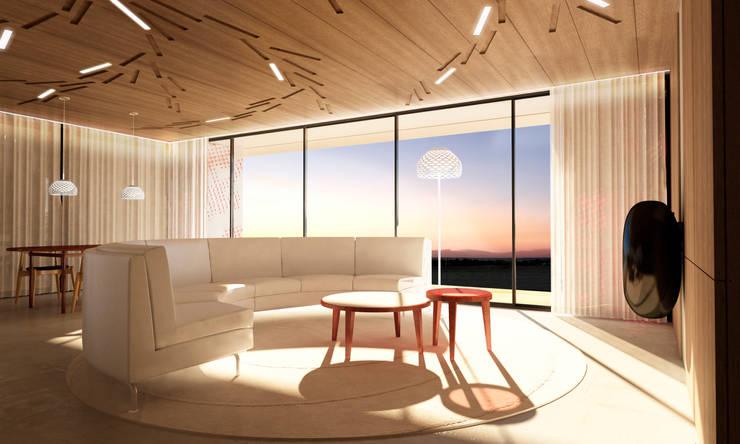 Casa Extremadura: Salones de estilo rural de Estudio de Arquitectura Teresa Sapey