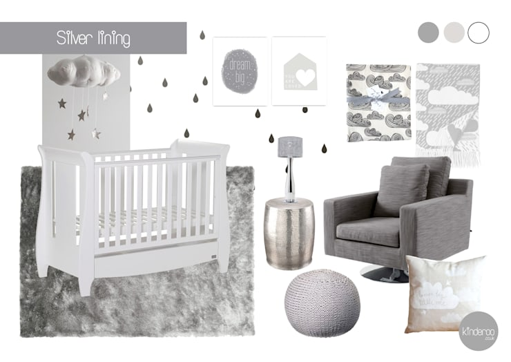 Silver lining nursery:  Nursery/kid's room by Kinderoo Childrens Interiors