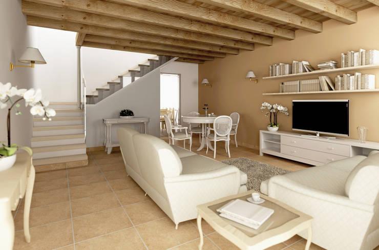Salas / recibidores de estilo  por Laura Sardano, Rústico