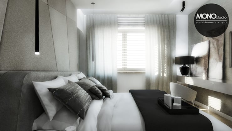 Elegancki, przestronny i nowoczesny dom pod Krakowem.: styl , w kategorii Sypialnia zaprojektowany przez MONOstudio,