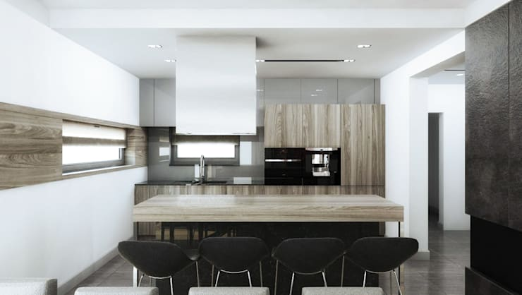 Klimatyczne wnętrz w nowoczesnym domu w Krakowie: styl , w kategorii Kuchnia zaprojektowany przez MONOstudio
