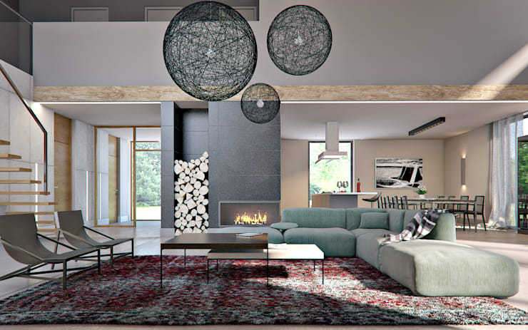 Projekt wnętrz domu pod krakowem: styl , w kategorii Salon zaprojektowany przez MOCOLOCCO,