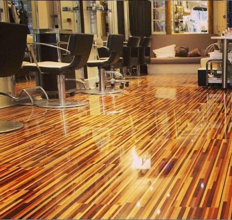 Upmarket St Johns Wood hair salon installs Designer Stripes:  Walls by Floorless Floors Ltd