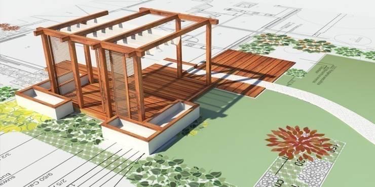 projekt tarasu  z pergolą : styl , w kategorii  zaprojektowany przez Autorska Pracownia Architektury Krajobrazu Jardin ,