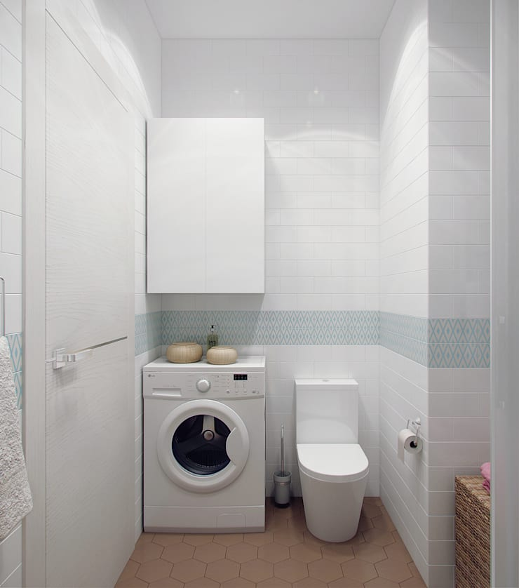 Квартира для молодой девушки: Ванные комнаты в . Автор – Ekaterina Donde Design