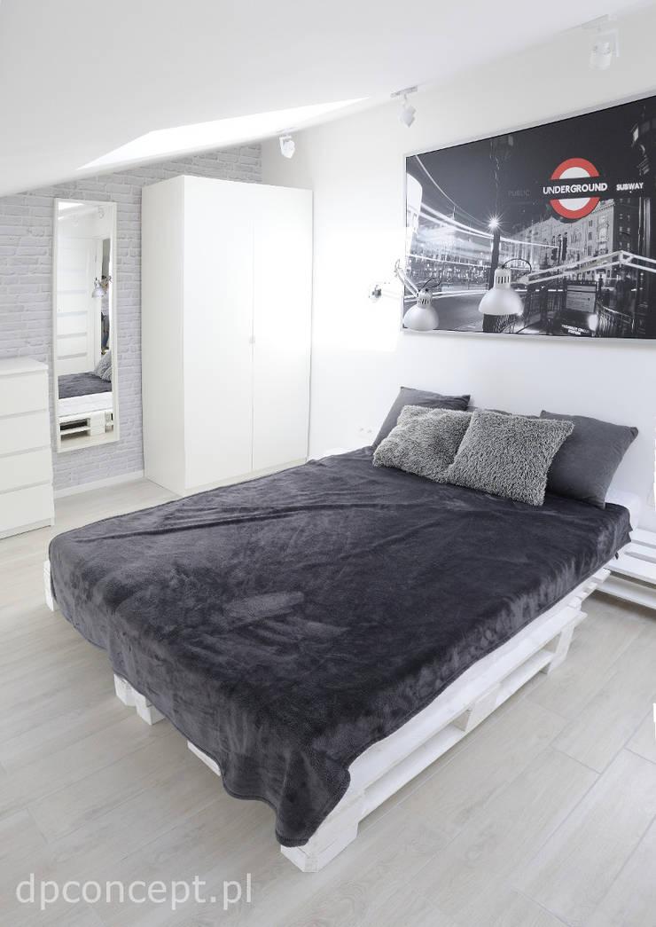 Część wypoczynkowa pokoju studenckiego: styl , w kategorii Sypialnia zaprojektowany przez DP Concept,Skandynawski