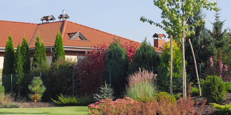 rośliny sąsiada pięknie łączą się z ogrodem: styl , w kategorii  zaprojektowany przez Autorska Pracownia Architektury Krajobrazu Jardin