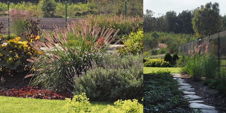 trawy , byliny i otwarty widok: styl , w kategorii  zaprojektowany przez Autorska Pracownia Architektury Krajobrazu Jardin