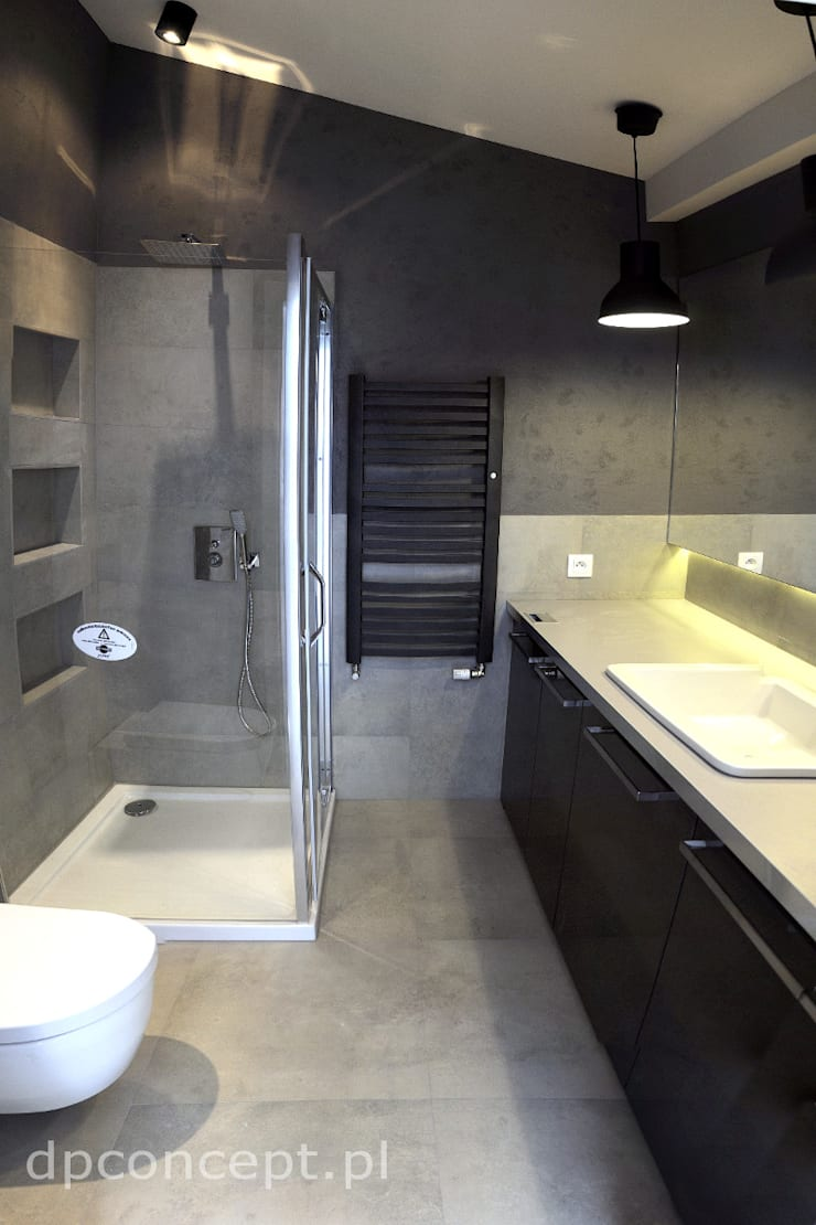 Grafitowa łazienka: styl , w kategorii Łazienka zaprojektowany przez DP Concept,Nowoczesny Płytki