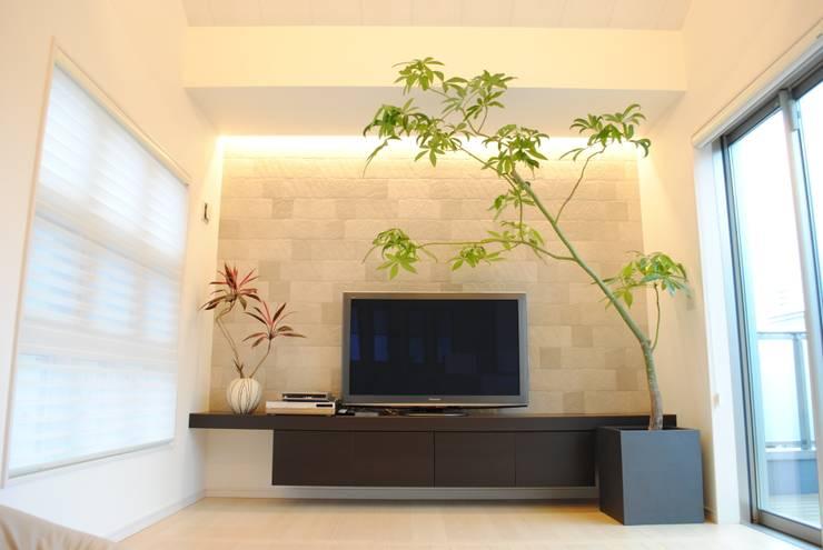インテリアグリーン パキラ 赤インチ: スタイル・モダンが手掛けたリビングルームです。