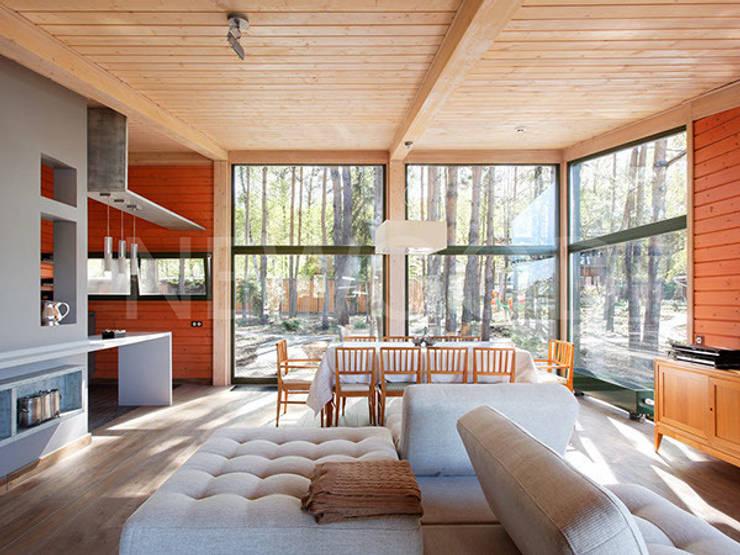 Скандинавия 150: Гостиная в . Автор – NEWOOD - Современные деревянные дома