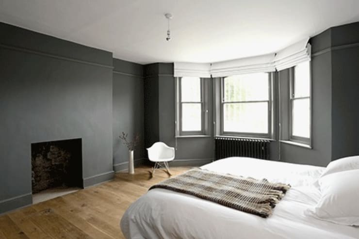Deep grey throughout:  Bedroom by Forster Inc