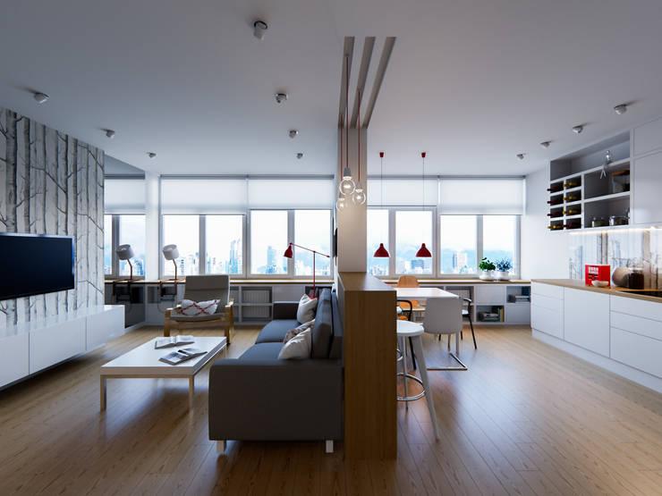 В белых тонах: Гостиная в . Автор – Kristina Petraitis Design House