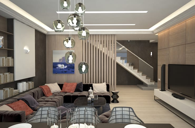 Двухуровневая квартира с видом на море: Гостиная в . Автор – Azari Architects