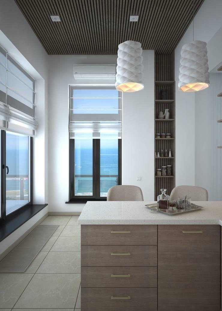 Двухуровневая квартира с видом на море: Кухни в . Автор – Azari Architects