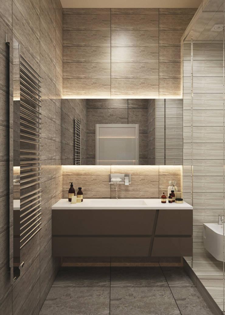 Двухуровневая квартира с видом на море: Ванные комнаты в . Автор – Azari Architects