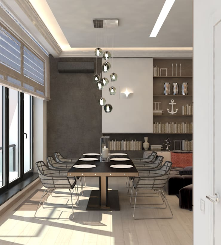 Двухуровневая квартира с видом на море: Столовые комнаты в . Автор – Azari Architects
