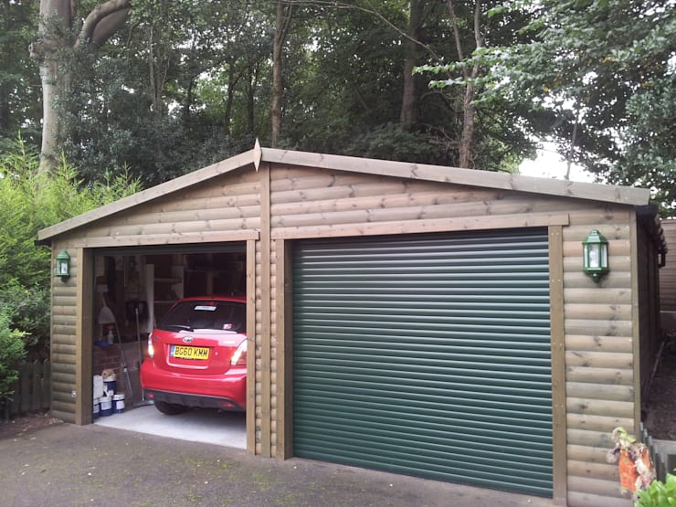 6m x 6m Wooden double garage:  Garage/shed by Regency Timber Buildings LTD