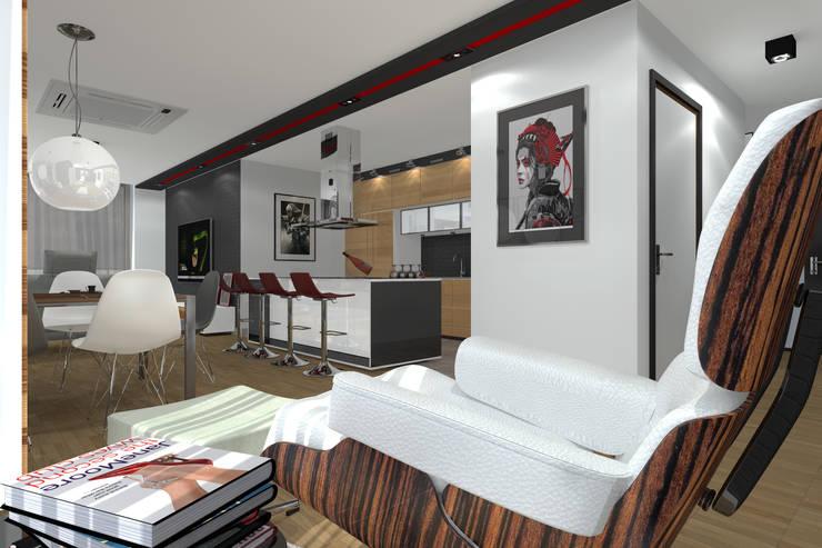 """Apartament MR-Jap - """"CEGIELNIANA"""" Rybnik: styl , w kategorii Salon zaprojektowany przez ABC Pracownia Projektowa Bożena Nosiła"""