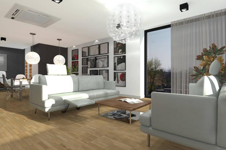 Apartament MR-Jap – <q>CEGIELNIANA</q> Rybnik: styl , w kategorii Salon zaprojektowany przez ABC Pracownia Projektowa Bożena Nosiła