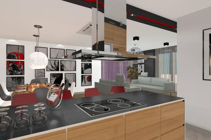 Apartament MR-Jap – <q>CEGIELNIANA</q> Rybnik: styl , w kategorii Kuchnia zaprojektowany przez ABC Pracownia Projektowa Bożena Nosiła
