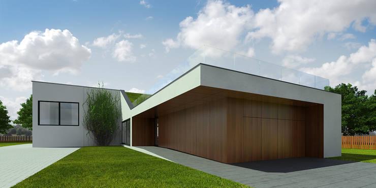 widok od drogi: styl nowoczesne, w kategorii Domy zaprojektowany przez D C K