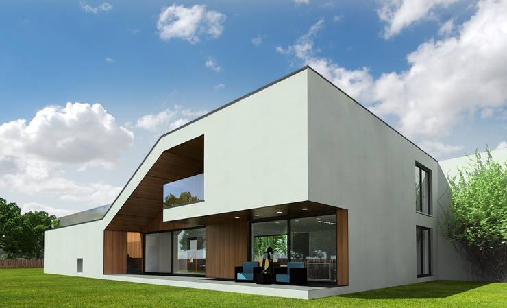 widok od ogrodu: styl nowoczesne, w kategorii Domy zaprojektowany przez D C K