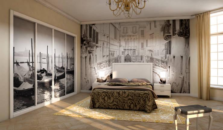 Dormitorio infantil con armario de puertas correderas en color haya y personalizado textil.: Dormitorios de estilo  de AstiDkora