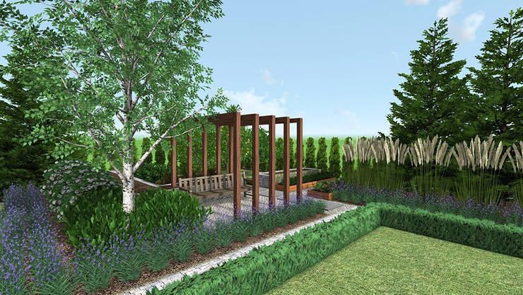 Klasyczny ogród w Garbach koło Poznania: styl , w kategorii  zaprojektowany przez Rock&Flower studio. Pracownia architektury krajobrazu.,Klasyczny